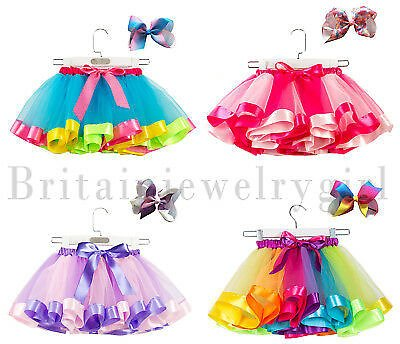 Girls Layered Rainbow Tutu Skirt Bow Dance Costume with Hair Bows Clips Set