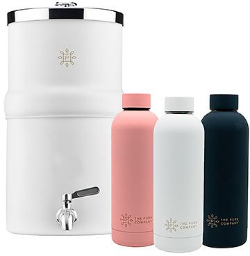 Carbon Filter Water Decanter + Two Insulated Water Bottles