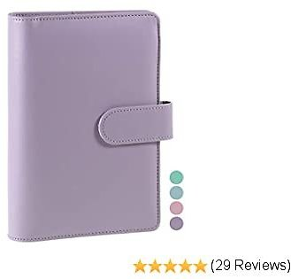 A6 PU Leather Notebook Binder, Refillable A6 Inner Filler Papers Journal Binder Cover with 6 Ring, Personal Diary Schedule Organizer Planner Binder Cover with Magnetic Buckle Closure [Lavender]