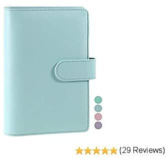 A6 PU Leather Notebook Binder, Refillable A6 Inner Filler Papers Journal Binder Cover with 6 Ring, Personal Diary Schedule Organizer Planner Binder Cover with Magnetic Buckle Closure [Blue]