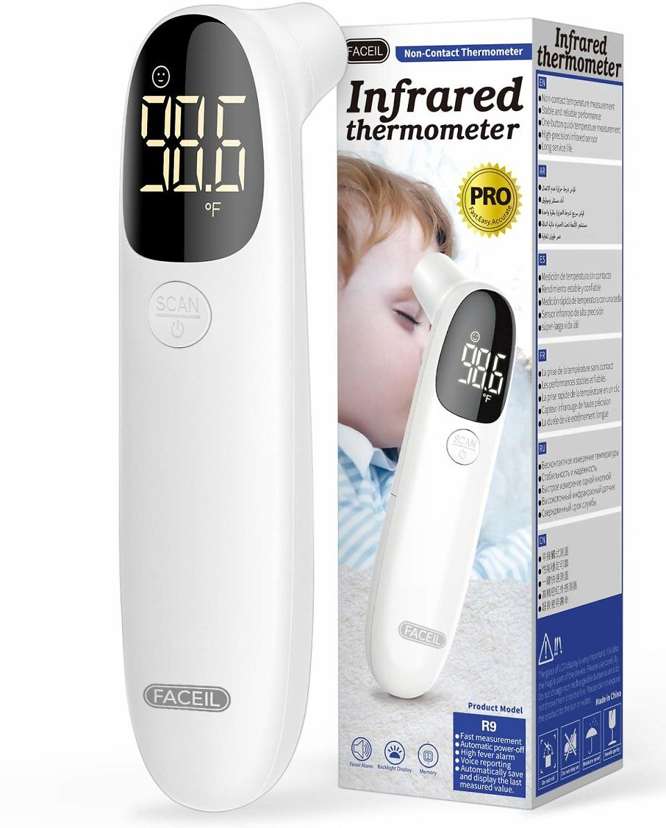 [All New 2020] Forehead Thermometer for Fever By FACEIL, Touchless Infrared Thermometer with Fever Alert and 32 Group Memory Recall, Digital Thermometer for Adults and Babies (1 Second Fast Reading)
