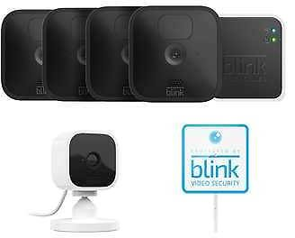 Blink 5 Camera System - 4 Outdoor Battery Powered Cameras, 1 Mini Indoor Plug-in Camera, with Yard Sign