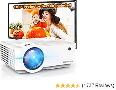 """Video Projector, Portable Mini Projector with 100"""" Projector Screen, 1080P Supported, Built in HI-FI Speaker"""
