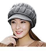 Women's Winter Hat Slouchy Cable Knit Visor Crochet Beanie Hats Warm Snow Ski Skull Cap with Brim Black At Amazon Women's Clothing Store