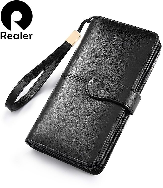 US $10.48 93% OFF|REALER Women Wallet Split Leather Long Wallet with Phone/coin/card Pocket Zippers for Ladies Purses with Short Strap for Female|Wallets| - AliExpress
