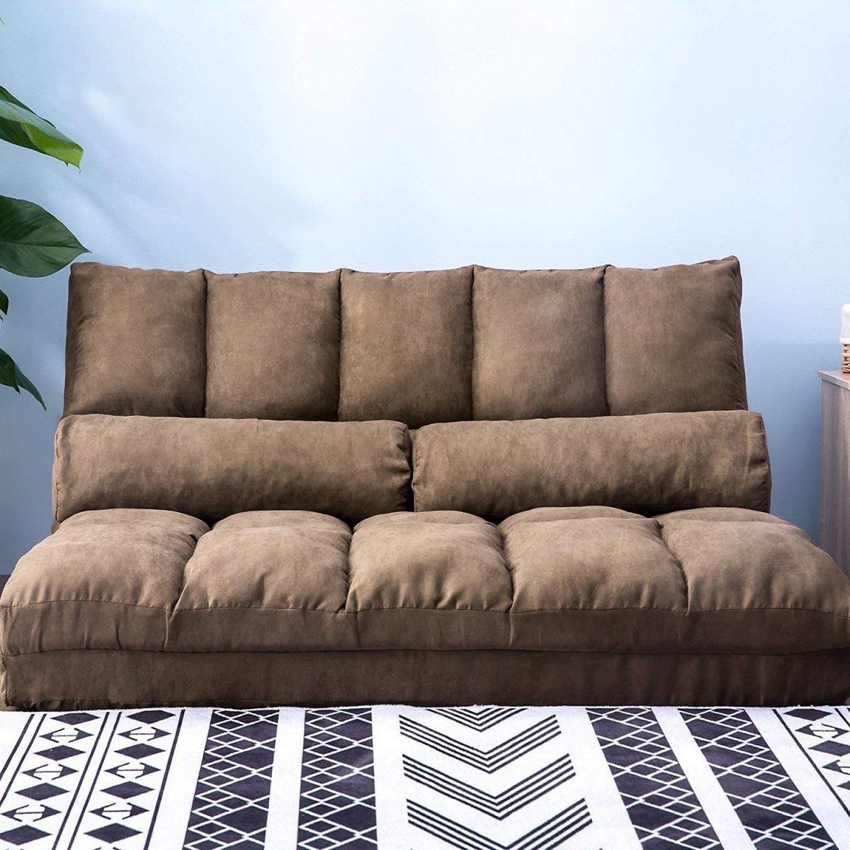 Floor Sofa Bed, Folding Futon Chaise Lounge Sofa Gaming Chair Floor Couch W/2 Pillows, Adjustable Floor Sofa and Couch, Sleeper