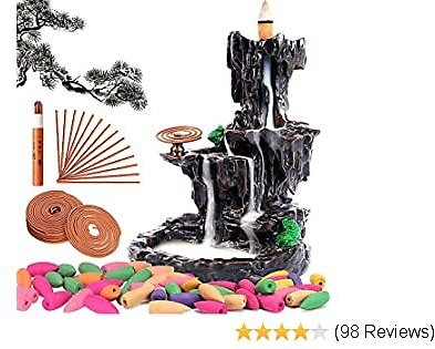 Sweet Alice Incense Holder Waterfall Incense Burner, Home Decor Aromatherapy Ornament, with 150 Backflow Incense Cones