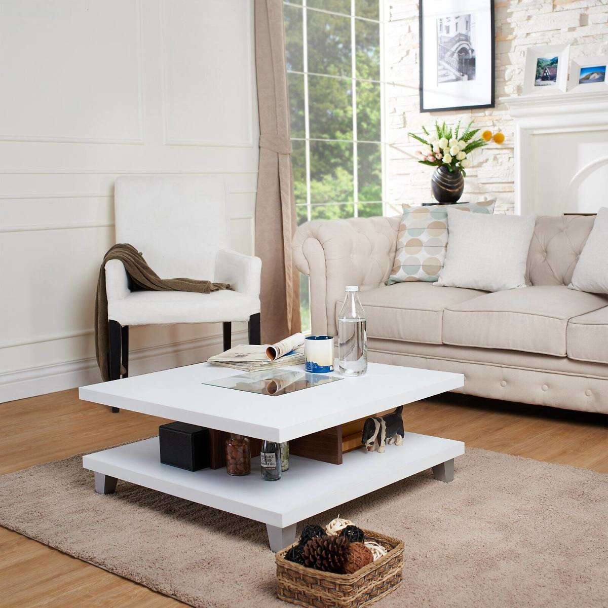 Furniture of America Panamera White and Walnut 2-Leveled Coffee Table