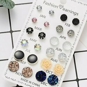 12 Pairs/Set Charm Women Crystal Flower Ear Stud Earrings Wedding Jewellery Gift