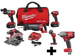 Milwaukee M18 FUEL 18-Volt Lithium-Ion Brushless Cordless Combo Kit (5-Tool) with M18 FUEL Mid Torque 1/2 In. Impact Wrench-2997-25-2861-20