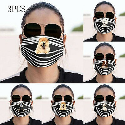 Cotton Washable Unisex Cute Dog Print Face Mask Mouth Masks Protective Reusable