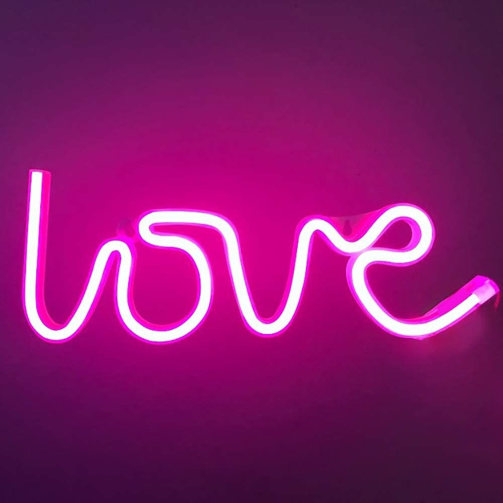 Love Neon Signs Lights Pink LED Neon Night Lights Lamps USB Battery Operated Art Decor Wall Decoration Table Lights Neon Signs D
