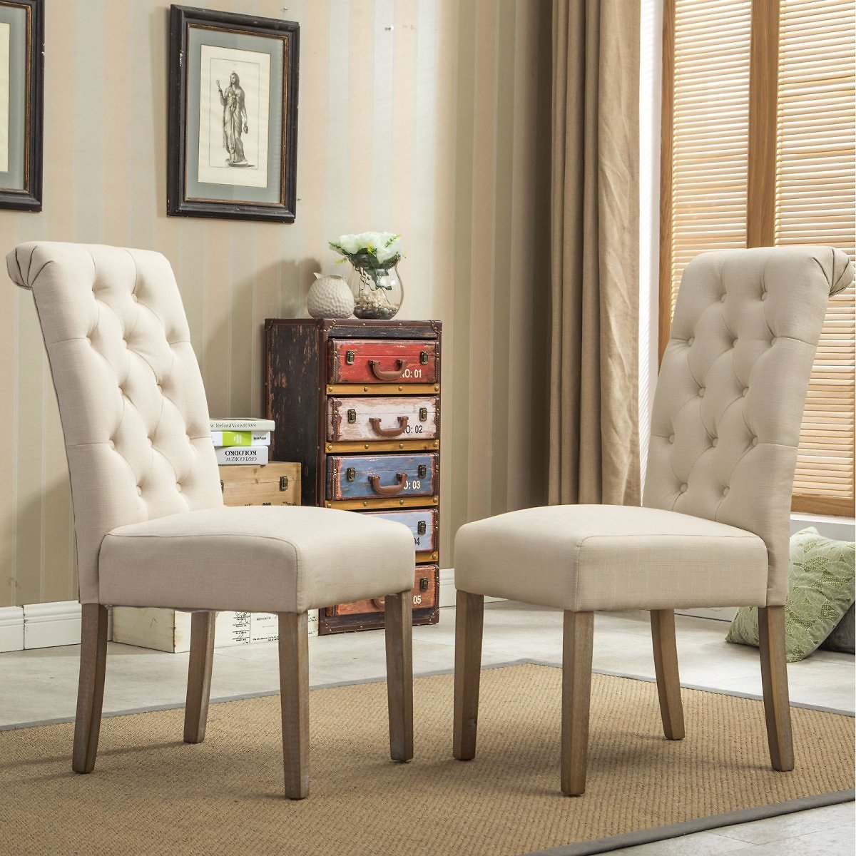 Roundhill Furniture Habit Solid Wood Tufted Parsons Dining Chair, Tan, Set of 2 (6 Colors)
