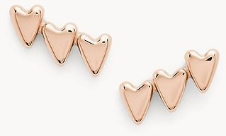 Stacked Hearts Rose Gold-Tone Stainless Steel Climber Earrings