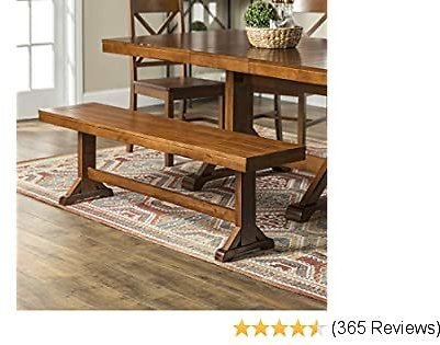 Walker Edison Furniture Company 3 Person Modern Farmhouse Wood Armless Dining Bench Kitchen, 60 Inch, Brown