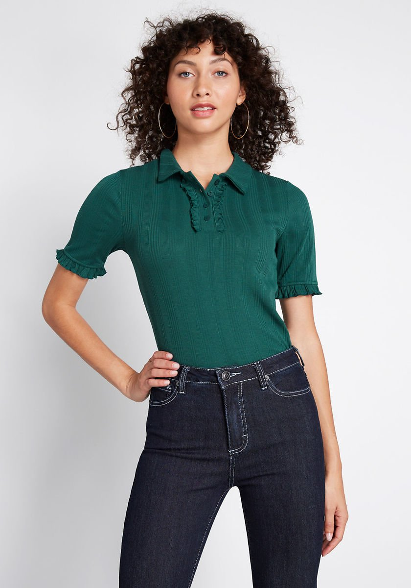 Daily Wins Ribbed Polo Top
