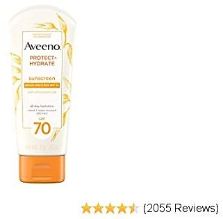 Aveeno Protect + Hydrate Moisturizing Sunscreen Lotion with Broad Spectrum SPF 70 & Antioxidant Oat, Oil-Free, Sweat- & Water-Resistant Sun Protection, Travel-Size, 3 Oz