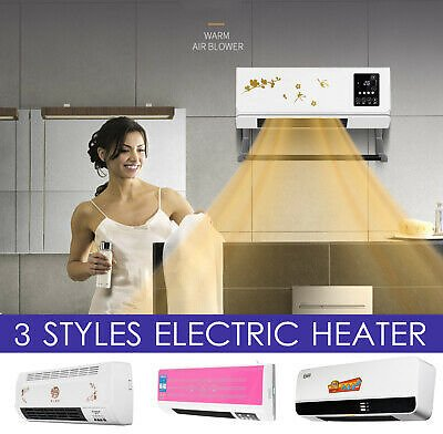 2000W Electric Timing Air Heater Wall Mount Room Bathroom + Remote Control US1