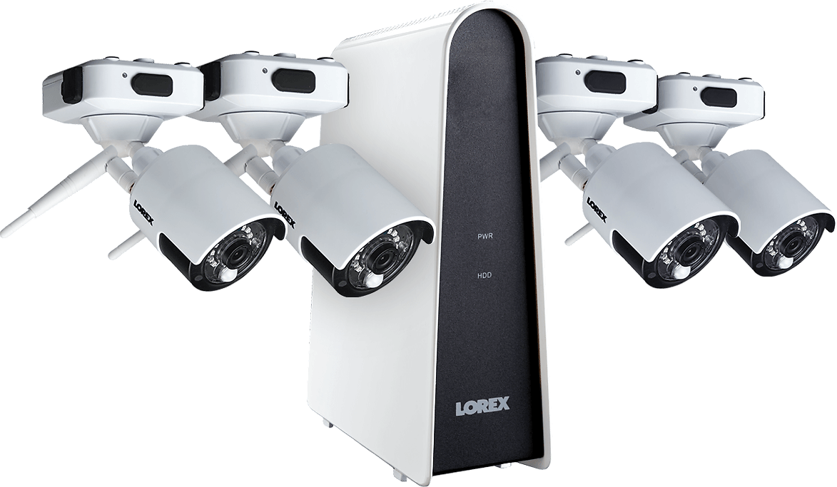1080p Wire Free Camera System, Featuring 4 Battery Powered White Outdoor Cameras and 16GB DVR