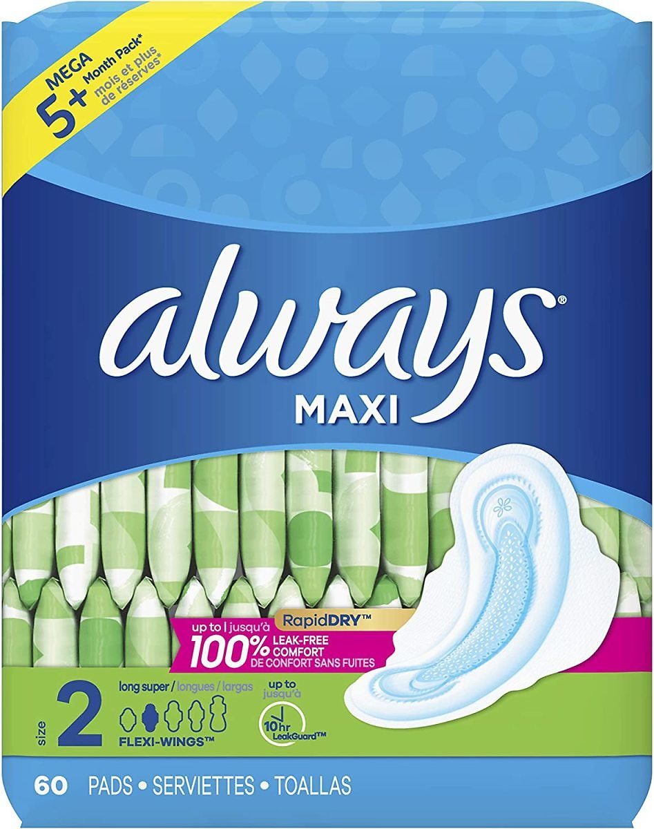 ALWAYS Maxi Size 2 Super Pads With Wings Unscented, 60 Count