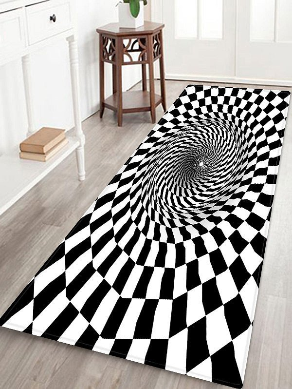 SALE3D Plaid Hole Patterned Water Absorption Area Rug