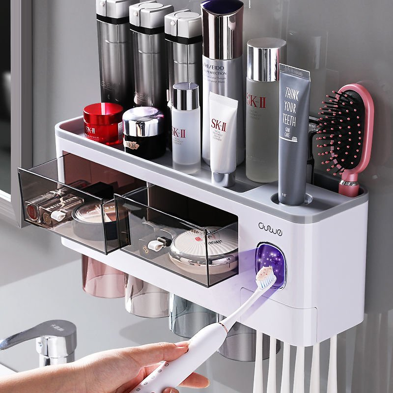 Bathroom Accessories Set Magnetic Adsorption Inverted Toothbrush Holder Automatic Toothpaste Dispenser Squeezer Storage Rack