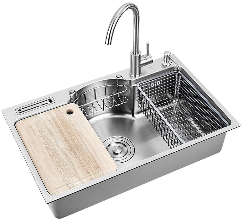 Sinks Kitchen Multifunctional Kitchen Sink Stainless Steel 1.3 Mm Thickness Brushed Single Bowl Kitchen Sinks