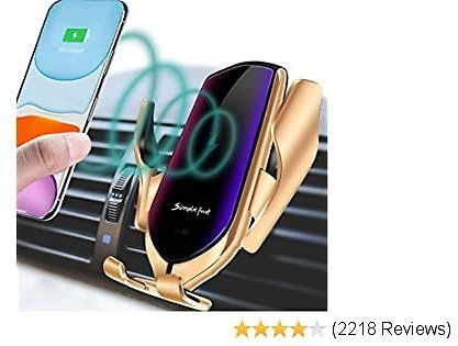 LUKKAHH R2 Wireless Car Charger Mount,Auto-Clamping Air Vent Phone Holder,10W Qi Fast Car Charging,Compatible IPhone 11/11 Pro/11 Pro Max/XS/XS Max/X/8/8+, Samsung Note9/Note10/S9+/S10+(Gold)