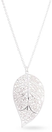 Silver Tone Cut Out Filigree Leaf Pendant Necklace