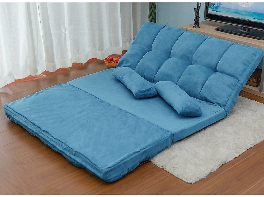 Chaise Lounge Sofa, Folding Futon Floor Sofa Bed with 2 Pillows, Adjustable Gaming Lounge Sofa Bed, Foldable Sleeper Sofa Bed, L