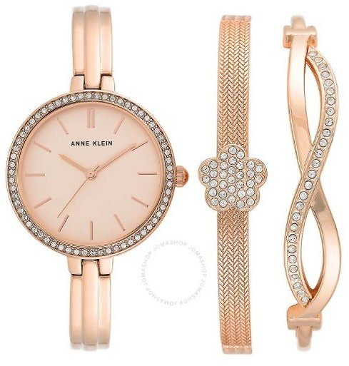 Anne Klein Quartz Rose Dial Ladies Watch And Bracelet Set