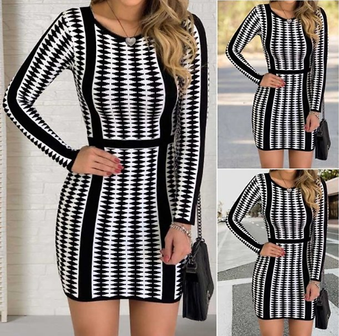 Women Fashion Round Neck Long Sleeve Business Dress Offices Ladies