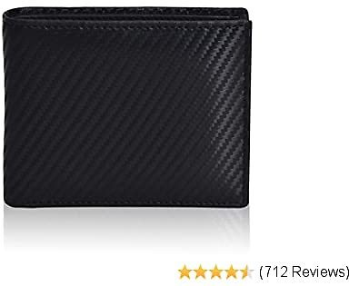 Slim Bifold Wallet for Men - Black Leather RFID Secure Billfold with Card Slots