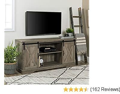 Walker Edison Furniture Company Modern Farmhouse Sliding Barndoor Wood Stand for TV's Up to 65