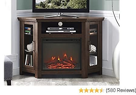 Walker Edison Furniture Company Tall Wood Corner Fireplace Stand for TV's Up to 55