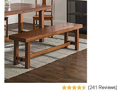 Walker Edison Furniture Company Rustic Farmhouse Wood Distressed Dining Room Kitchen Bench, Brown Oak