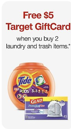 Target - Buy 2 Laundy or Trash Items and Get $5 Gift Card with Order Pick-up/ Same Day Delivery