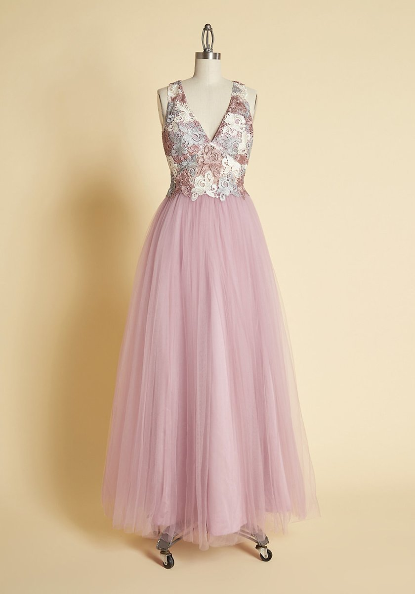 Floaty and Floral Tulle Maxi Dress