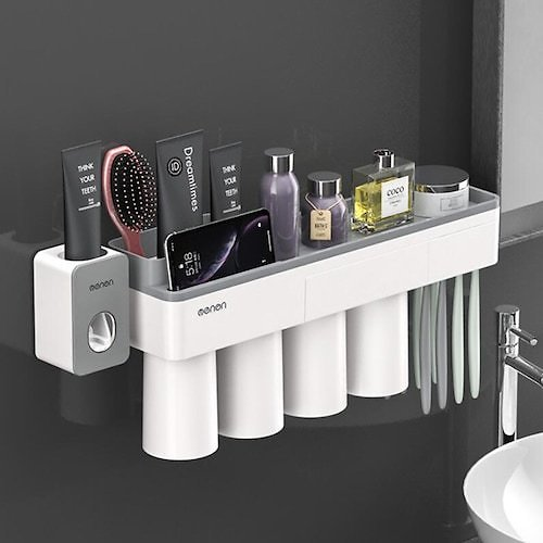 Punch Free Multifunctional Magnetic Toothbrush Holder with Toothpaste Squeezer + Cups