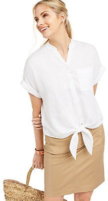 Charter Club Linen Tie-Front Button-Up Shirt, Created for Macy's & Reviews - Tops - Women
