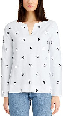 Charter Club Cotton Embroidered Anchor Top, Created for Macy's & Reviews - Tops - Women