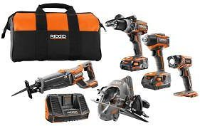 RIDGID 18-Volt Lithium-Ion Cordless Brushless 5-Tool Combo Kit with (1) 2.0 Ah and (1) 4.0 Ah Battery, 18-Volt Charger, and Bag-R9638SBN
