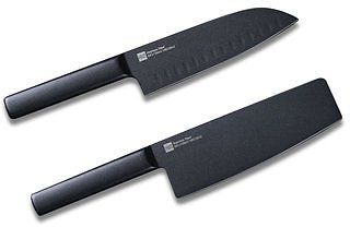 HUOHOU 2PCS/Set Cool Black Stainless Steel Knife Nonstick Knife Set 7inch Anti-Bacteria Kitchen Chef Knife Slicing Knife From Xiaomi Youpin Kitchen,Dining & BarfromHome and Gardenon Banggood.com