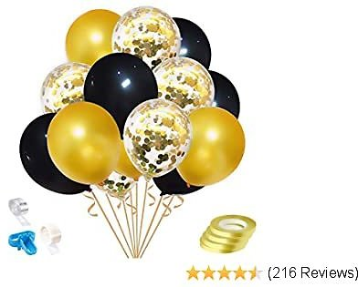 Rutien 60PCS Gold Confetti Balloons Set 12 Inch Gold Black Latex Balloons 3.2g/PC with 4 Ribbons for Wedding Birthday Graduation Party