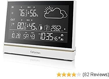 Wireless Weather Station with Outdoor Sensor DCF Receive Signal, Indoor and Outdoor Thermometer Hygrometer 7.5-Inch Oversized LCD Display Weather Forecast, Alarm Clock Digital Clock Temperature Alarm