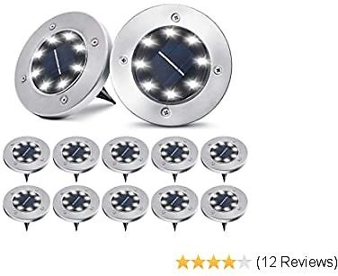 Pozzolanas Solar Ground Lights,8 LED Solar Garden Lights Outdoor Waterproof In-Upgraded Outdoor Garden Waterproof Bright In-Ground Lights for Lawn Pathway Yard Driveway,12 Packs(Cold White)