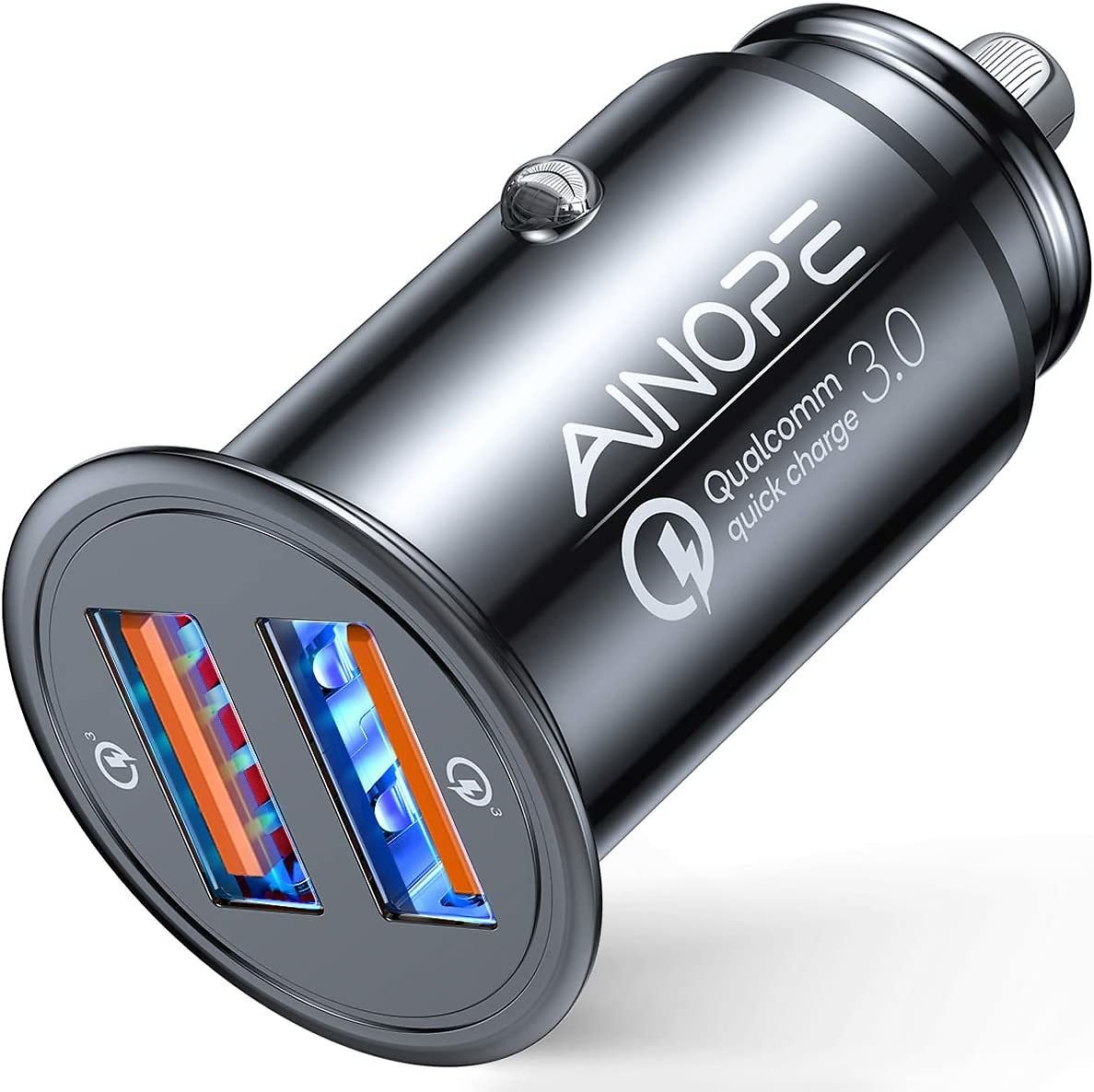 AINOPE USB Car Charger, [Dual QC3.0 Port] 36W/6A [All Metal] Fast Car Charger Adapter Mini Cigarette Lighter Usb Charger Quick Charge Compatible with IPhone 11/11 Pro/XR/X/XS, Note 9/Galaxy S10/S9/S8
