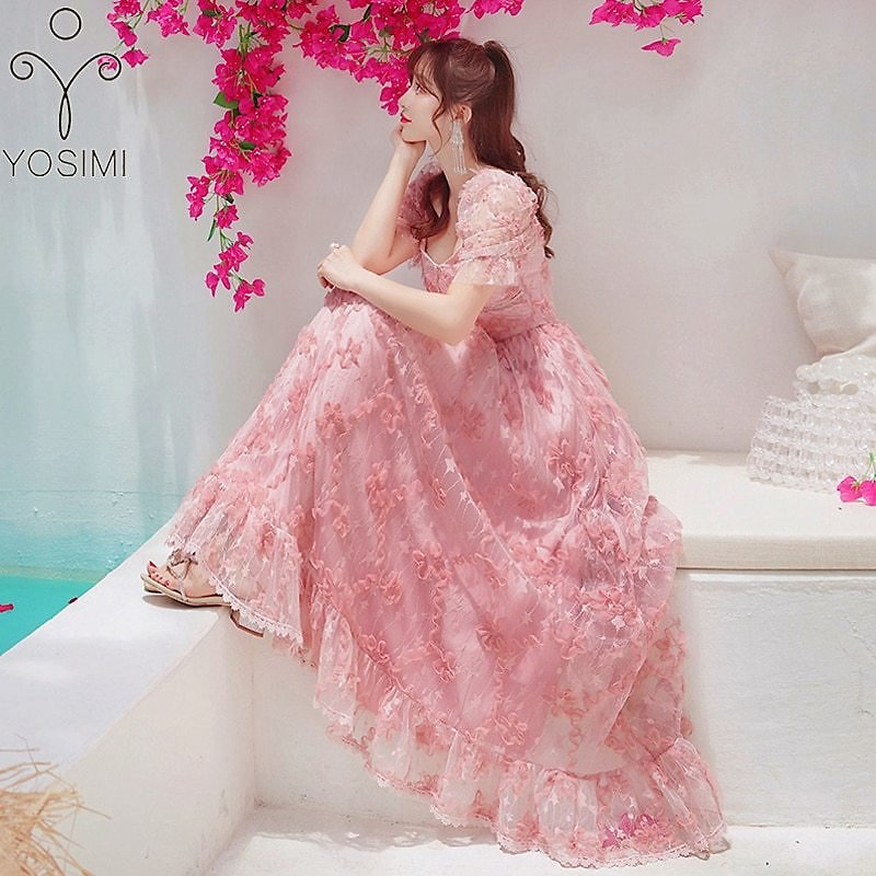 YOSIMI Evening Party Dress 2020 Summer Maxi Elegant Embroidery Voile Short Sleeve V-neck Fit and Flare Mid-calf Long Women Dress