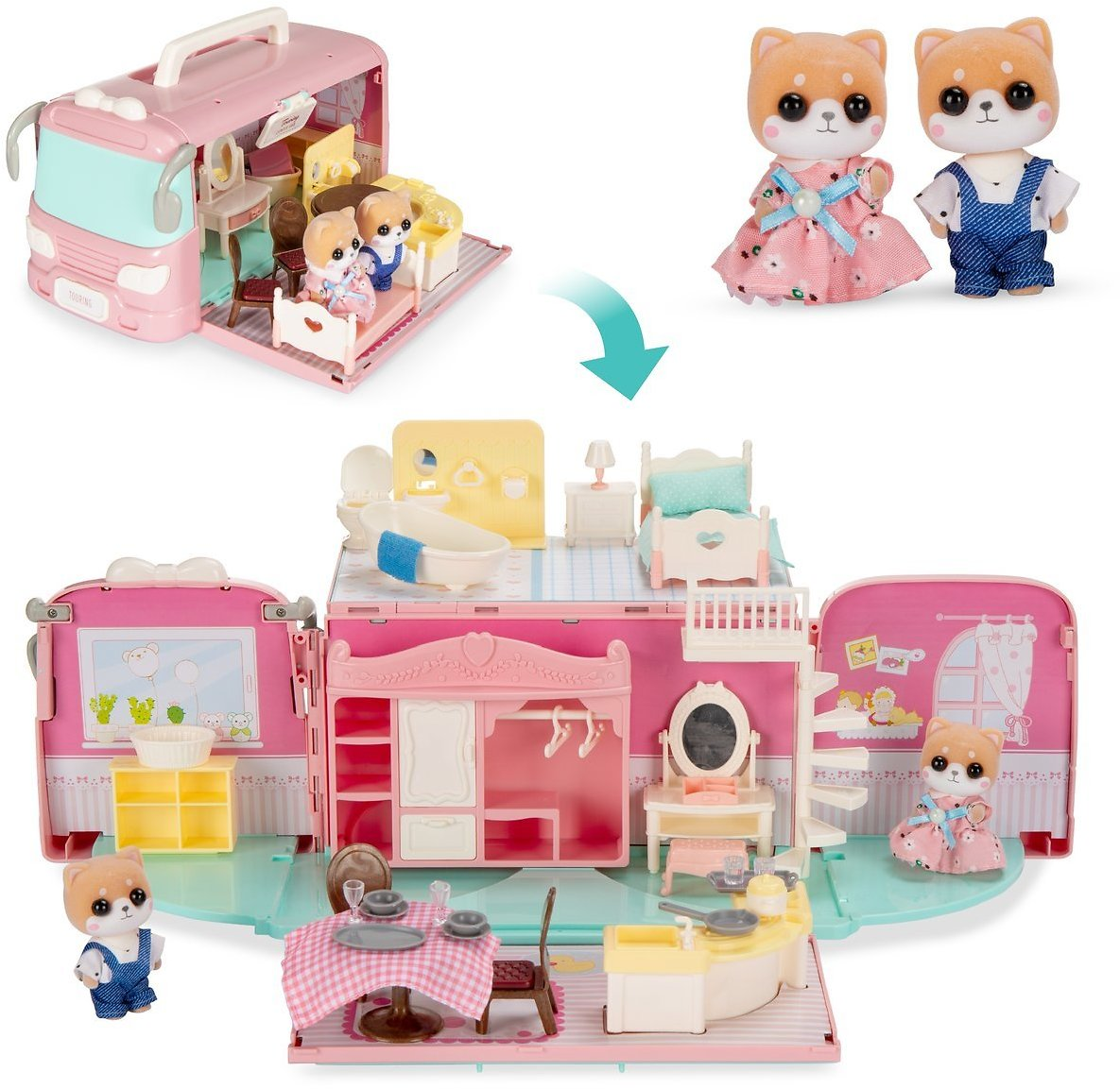 Tiny Critters Portable Full-Size Camper Van Playset Pretend Play Dollhouse