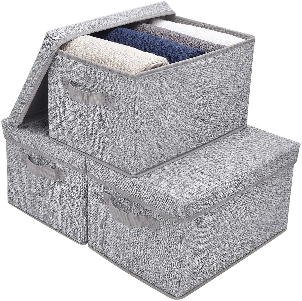 GRANNY SAYS Storage Bins for Closet with Lids and Handles, Rectangle Storage Box, Fabric Storage Baskets Containers, Gray, Large, 3-Pack